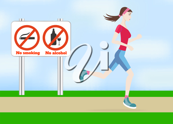 Running woman outdoors in flat design style. Jogging outdoors