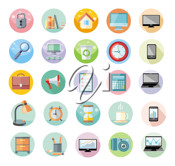 Set of round icons for office and time management with digital devices and office objects on white background