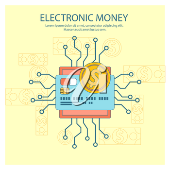 Flat design colored illustration concept for electronic money, mobile banking and online payment isolated on stylish background