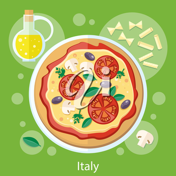 Italian food. Pizza with its ingredients. Concept in flat design