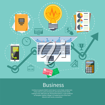Analytics, business strategy and e-commerce illustration. Flat style concept of analysis and searching. Office item icons laptop with graphs