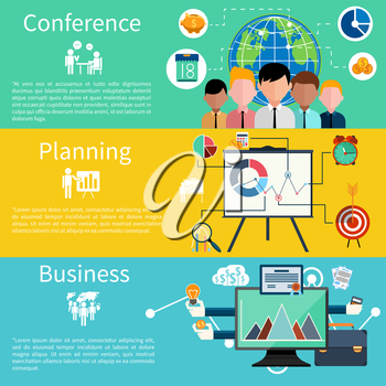 Flat design concept of businessman presenting development and financial planning on meeting conference