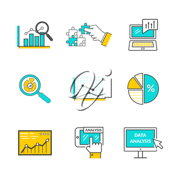 Set of icons flat style data analysis. Information optimization, trend development, idea and strategy, financial growth, infographic seo, process finance statistic illustration