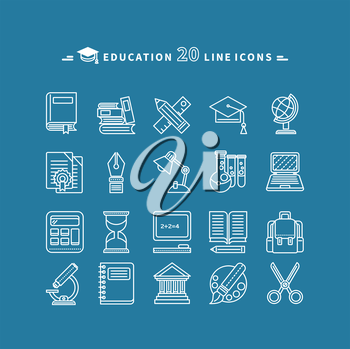 Set of white education thin, lines, outline icons. Items for study ruler, pencil, microscope, backpack, computer, palette, glasses on blue background. For web and mobile applications