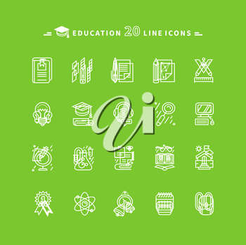 Set of white education thin, lines, outline icons. Items for study ruler, pencil, microscope, backpack, computer, flasks, glasses. For website and mobile applications