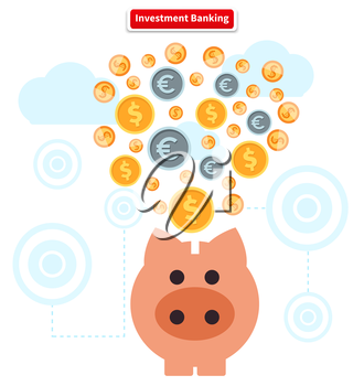 Concept of investment banking. Collect of finance. Money finance, bank and growth earnings, piggy and cash coin, financial profit, wealth and dollar, income and fund illustration