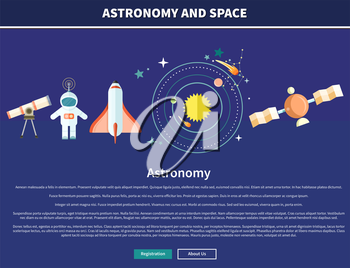 Astronomy and space web page design. Astrology and star, telescope and galaxy, astronomer and planet, science and universe, technology and spaceship, spacecraft illustration