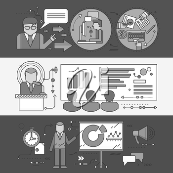 Professional master class seminar presentation. Conference and training, business communication, infographic and organization, teach and education, meeting and personnel. Set of thin, lines flat icons