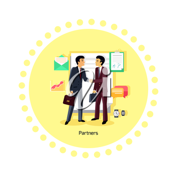Partners people icon flat design. Partnership business, man and teamwork, cooperation contract, deal and handshake, professional corporate, communication and coworking illustration
