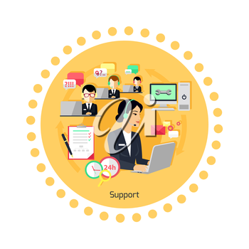 Support concept icon flat design. Business communication, internet service, computer and phone chat management, contact and connection, professional help and feedback. Vector illustration