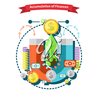 Accumulation of finances concept of a magnet attracting golden coins in flat design. Capital money,  capital markets, finance investment, growth business, financial profit, dollar coin, fund invest