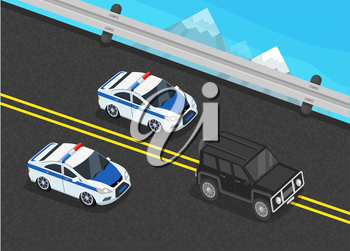 Isometric police motorcade car flat design. 3D police guard, motorcade escort, policeman in car, 3d cortege police car police protection, motorbike police patrol, transport famous safeguard