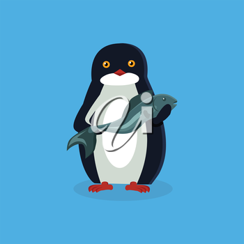 Animal penguin design flat. Bird penguin vector, cartoon polar animal winter isolated, wild penguin character with a fish illustration