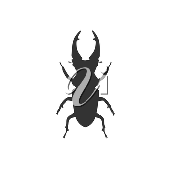 Icon of big beetle deer with horns. Stag beetle. Vector illustration