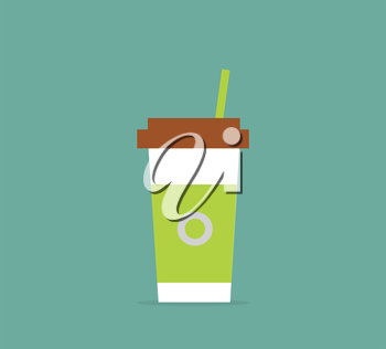 Disposable coffee cup icon with coffee logo and with the green label. Coffee to go. Vector illustration