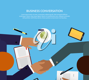 Business conversation design color flat. Negotiation table, two successful business man shake hands as a sign of agreement. Coffee on the table notebooks smartphone with pen. Vector illustration