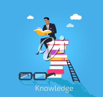 Knowledge design flat concept. Male young businessman sitting on a pile of books and read useful information. Many books knowledge with glasses and stairs isolated blue background. Vector illustration