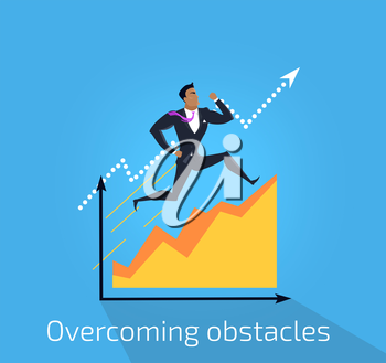 Overcoming obstacles banner design flat concept. Successful young businessman climbing up the schedule chart overcoming obstacles. Conceptual poster business development. Vector illustration