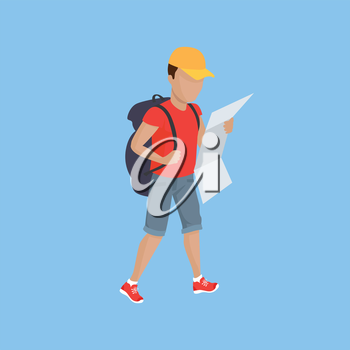 Hiking with backpack illustration. Man in shorts with supplies and map walks on blue background. Vector in modern flat design. Traveller orientation on area concept.