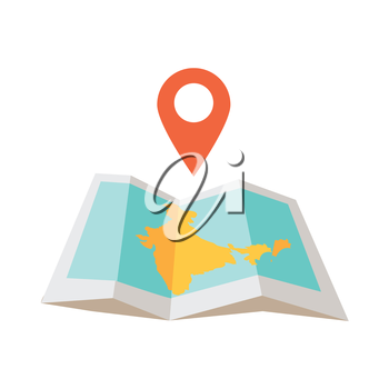 India traveling conceptual illustration. Summer vacation in exotic countries icon. Tourist journey vector. Navigation in foreign country concept. Map, checpoint in flat style design.