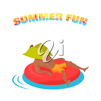 Summer water fun concept illustration. Vector flat design. Active vacation on sunny seaside. Water leasure and entertainment. Man swimming on inflatable circle during the heat. On white background.