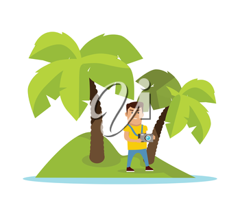Traveling to exotic tropical counties concept. Flat design. Summer vacation vector illustration. Man with photo camera on tiny island with palm trees. Traveler in cruise trip. On white background.
