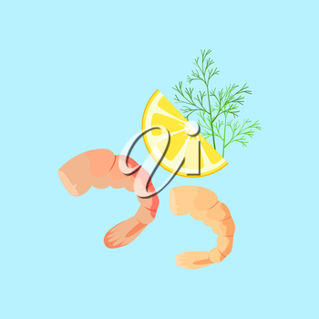 Cooked shrimp vector pattern. Flat style design. Fresh sea shrimp concept. Seafood illustration for packaging, logos. Healthy eating marine products. Bright red shrimp with lemon on blue background.