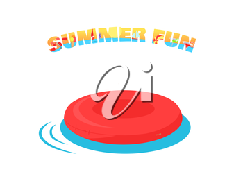 Summer fun concept vector. Flat design. Games in the water. Leisure in the back yard. Inflatable circle illustration for agencies advertising, flayers, app icons, prints. Isolated on white background.