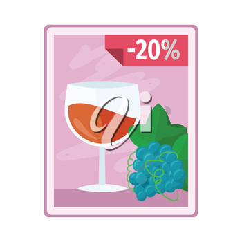 Discount on alcohol concept vector. Flat style. Poster with glass of wine, grape and interest discounts illustration for beverages concepts, grocery store ad, infograqphic element. Isolated on white.