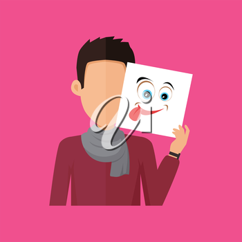 Man character avatar vector. Flat style. Brunet male portrait with joy, fun, foolery, playfulness, gaiety, emotional mask. Illustration for identity in Internet, mood concepts, app icons, infographic