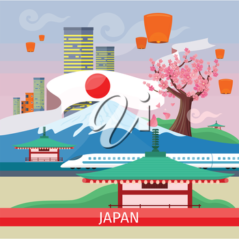 Japan travelling banner. Landscape with traditional Japanese landmarks. Skyscrapers and private buildings. Nature and architecture. Part of series of travelling around the world. Vector illustration