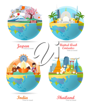 India, Emirates, Thailand, Japan travel posters design with attractions on the background of the globe. Time to travel. Travel composition with famous landmarks. Set of travel poster design in flat.