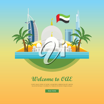 United Arab Emirates travelling banner on island. Landscape with traditional arabic landmarks. Skyscrapers. Grand Mosques. Nature and architecture. Part of series of travelling around world. Vector