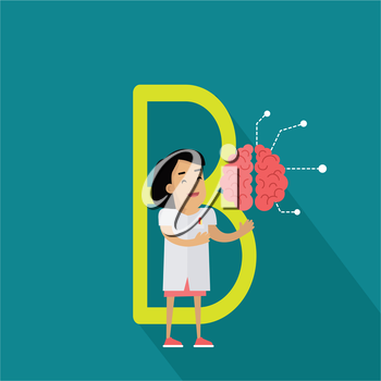 B letter and scientist with artificial brain. Human characters in white gowns with scientific equipment. Alphabet series with people. Centre of nervous system. Educational concept. ABC vector