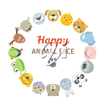 Happy animal face logos collection. Cute heads set. Cartoon masks for masquerade, holiday, festival, halloween. Icons sticker of forest characters for pet shop. Isolated object in flat design. Vector