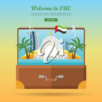 Welcome to UAE. United Arab Emirates travelling banner on photo in the suitcase. Landscape with traditional arabic landmarks. Going to vacation. Part of series of travelling around the world. Vector
