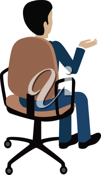 Man sitting on the chair and pointing on something by hand. Back view. Man at work. Endless work seven days a week. Working moments. Part of series of work at the office. Vector illustration