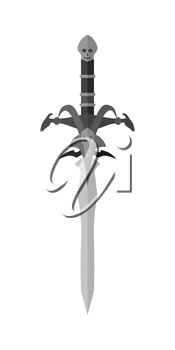 Fantastic game sword model vector in flat style design. Fairy cold weapon illustration for games industry concepts, icons and pictograms. Isolated on white background.