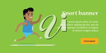 Athletics sport template. Summer games colorful banner. Active way of life concept. Competitions, achievements, best results. Happy cartoon runner. Flyer, template, poster Vector illustration