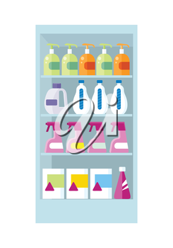 Shelve in shop with household chemicals vector. Assortment of household cleaners and cosmetics section in supermarket. Illustration for stores ad, shopping and merchandising concepts.