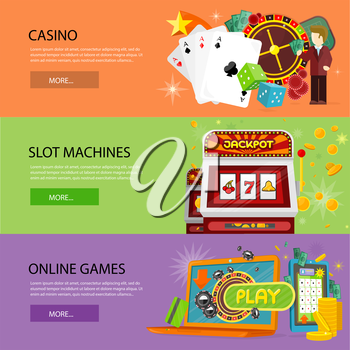 Set of gambling vector banners. Flat style. Casino, slot machines, online games horizontal conceptual illustrations for virtual gamble and entertainments services web page design.