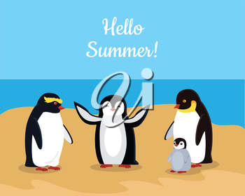Hello summer. Funny emperor penguins family on seaside. Black penguins with white belly. Animal adorable penguin vector character. Charming penguin. Wildlife characters greeting you. Vector