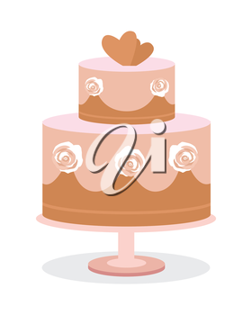 Wedding cake vector illustration. Flat design. Two tier chocolate cake with roses on side and hearts on top. Dessert at wedding ceremony. For greeting, invitation cards design. On white background