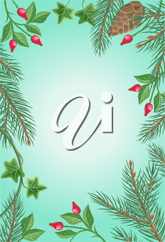 Winter frame with rose hips, pine tree branches with cones and ivy leaves. Spare place for your text. For greeting card, postcard design. Happy holidays. New Year and Christmas concept. Vector