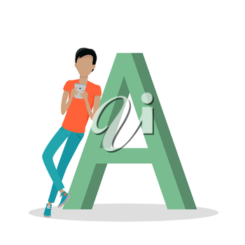 Gadget alphabet. Letter - A. Man with smartphone standing near letter. Modern youth with electronic gadgets. Social media network connection. Simple colored letter and people with electronic devices