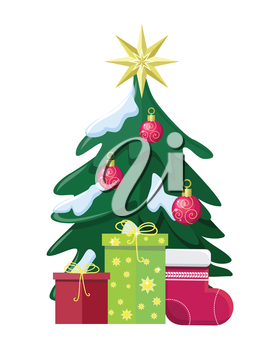 Christmas concept vector. Flat design. Illustration of christmas tree in snow, bubble toys, star, gift boxes with presents, big sock for stocking. Christmas and New Year celebrating. White background