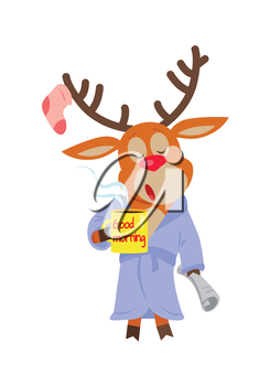Deer in sleepwear isolated on white. Reindeer in the morning drink a cup of coffee. Deer with a cup with text good morning. Sleepy character with newspaper in flat style. Vector illustration