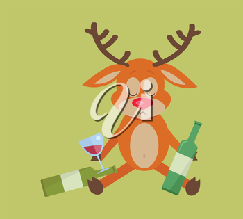 Deer with bottle of wine isolated on green. A lot of empty bottles on floor. Drunk with alcohol. Alcohol addicted reindeer with bottles of beer. Alcoholism. Vector illustration in flat style.