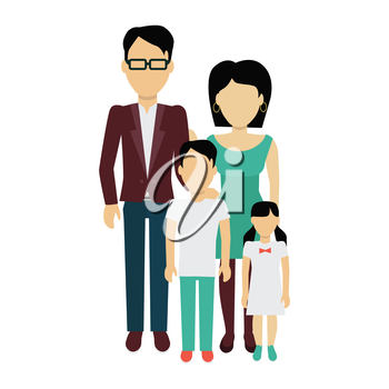 Happy family concept banner design flat style. Young family man and a woman with a son and daughter. Mother and father with child happiness lifestyle, vector illustration