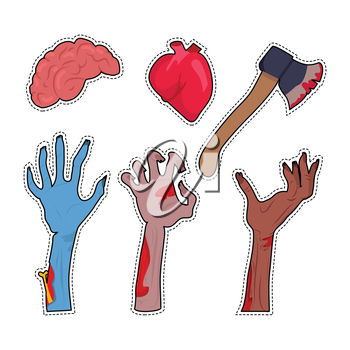 Zombie hands sticking out from ground. Various damaged and dried human limbs appear from grave flat vector. Undead arises on cemetery. Halloween party decor. Fashion patch cartoon 80s-90s comic style